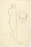 An image of recto: Country landscape with tree verso: Standing male nude and portrait of the model; Standing male nude by Lloyd Rees