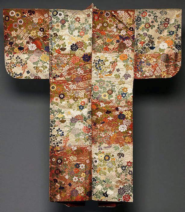 An image of 'Karaori' noh robe with design of flowers of the four seasons on sectioned red-and-white background