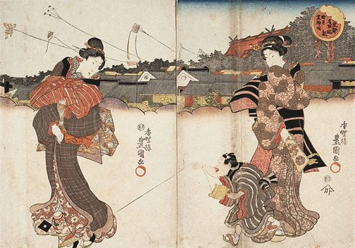 An image of Leisurely views of famous places in the eastern capital: Shiba Myôjin in the First month by Utagawa Kunisada/Toyokuni III