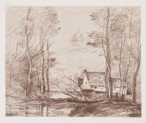An image of The mill at Cuincy, near Douai by Camille Corot