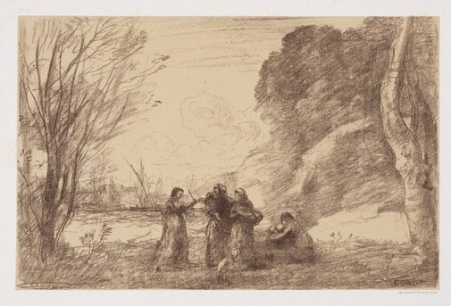 An image of A family at Terracina by Camille Corot