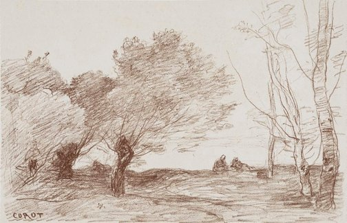 An image of Willows and white poplars by Camille Corot