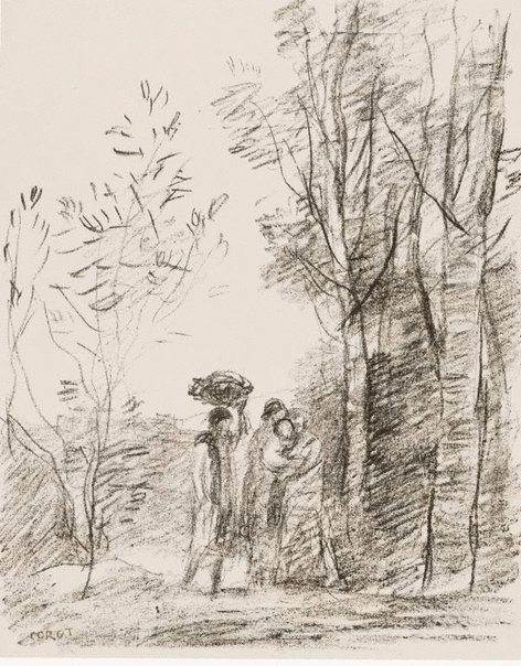 An image of The meeting in the grove by Camille Corot