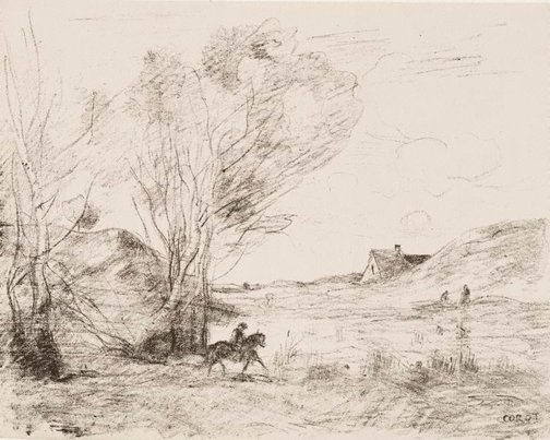 An image of The rider in the reeds by Camille Corot