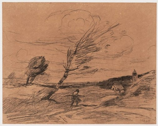 An image of The gust of wind by Camille Corot