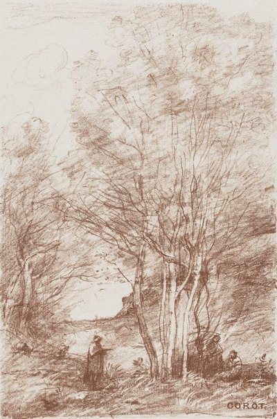 An image of The philosophers' retreat by Camille Corot