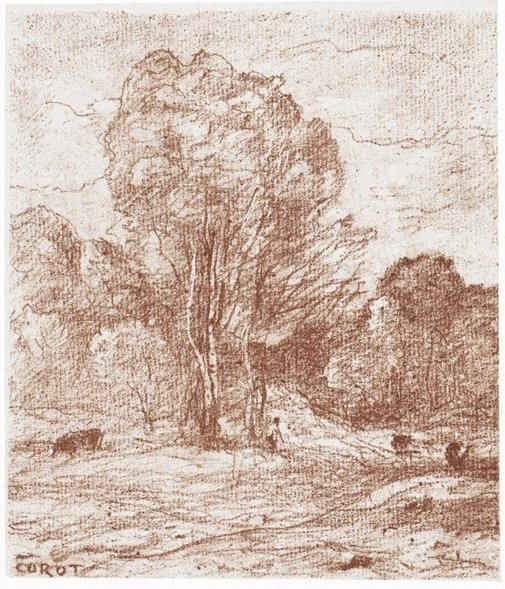 An image of The cows' resting place by Camille Corot