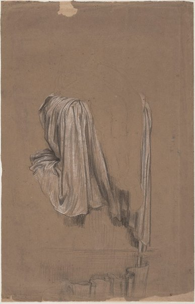 An image of Drapery study for Solitude by Frederic, Lord Leighton