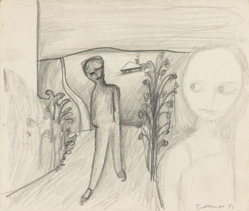 An image of (Two figures on a path) by Charles Blackman