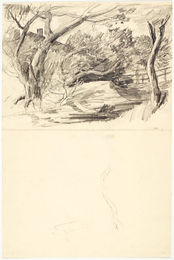 An image of recto: Rooftop behind trees and Sketch of tree trunk verso: Two heads (Self portrait and Alan?)