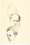 Alternate image of recto: Rooftop behind trees and Sketch of tree trunk verso: Two heads (Self portrait and Alan?) by Lloyd Rees
