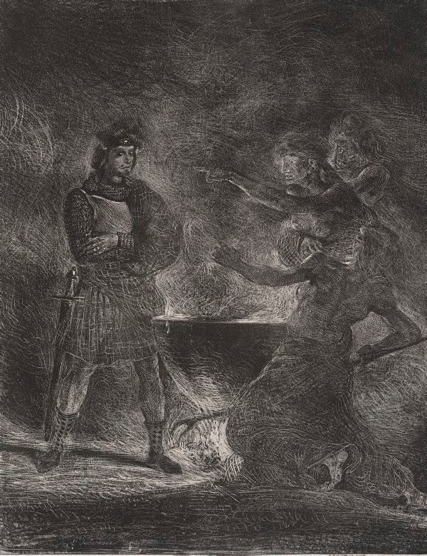 An image of Macbeth consulting the witches