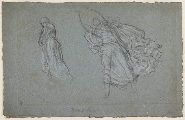 An image of Drapery study for Greek girls playing ball