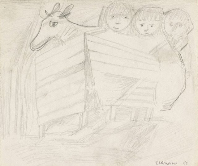 An image of (Cow and three children in stall)