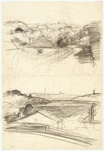 An image of Recto: Over the roofs from Northwood (twice) verso: Dead tree at Werri by Lloyd Rees