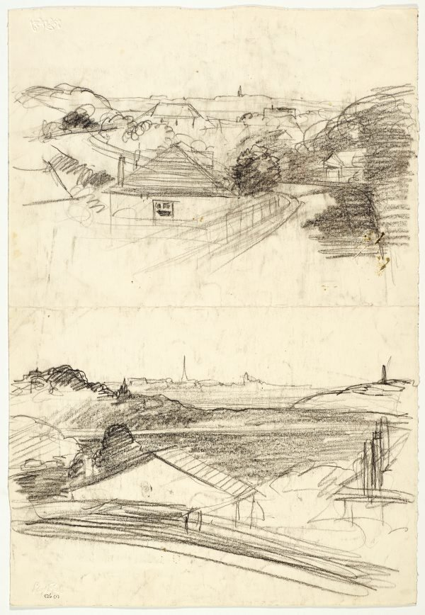 An image of Recto: Over the roofs from Northwood (twice) verso: Dead tree at Werri