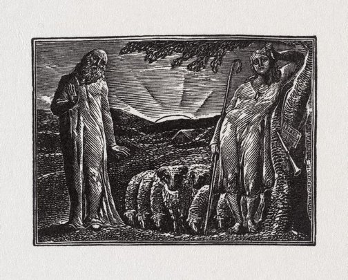 An image of Frontispiece: Thenot and Colinet by William Blake