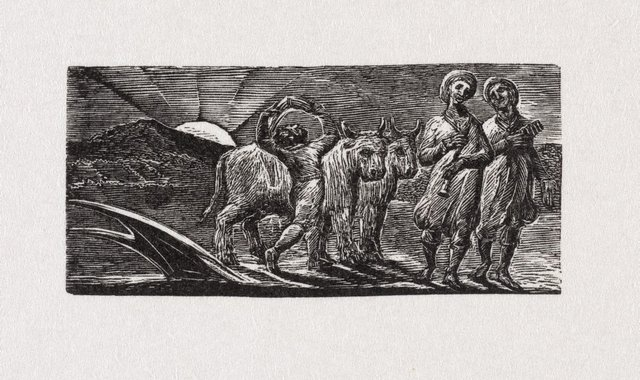An image of Boy returning joyfully with plough and oxen