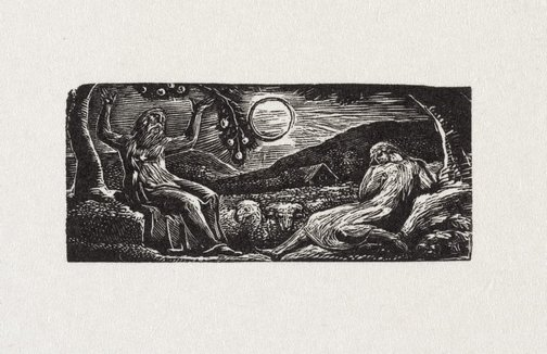 An image of Thenot under fruit tree by William Blake