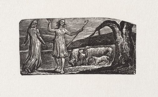 An image of Colinet departs in sorrow: 'riven trunk' at right by William Blake