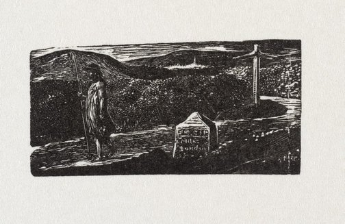 An image of Colinet's journey: milestone marked lxii miles to London by William Blake