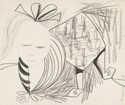 An image of (Figure with bow in hair) by Charles Blackman