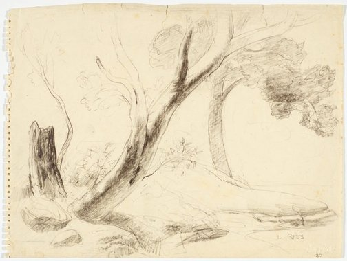 An image of Trees on riverbank by Lloyd Rees