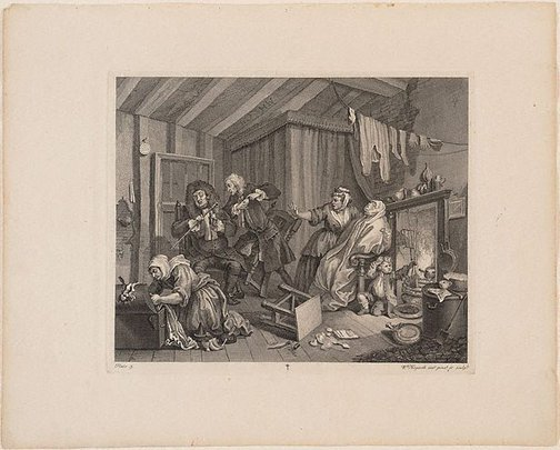An image of A Harlot's Progress: plate 5 by William Hogarth