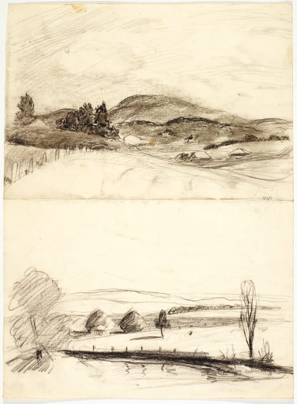 An image of Landscape with rounded hills, Mt Saddleback and Landscape with water and bare tree