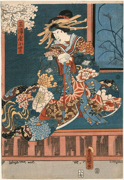 An image of [Kabuki actor in the role of courtesan Komurasaki of Miura-ya] by Utagawa Kunisada/Toyokuni III