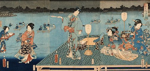 An image of Genji enjoying the evening cool by Utagawa Kunisada/Toyokuni III, Utagawa KUNIHISA