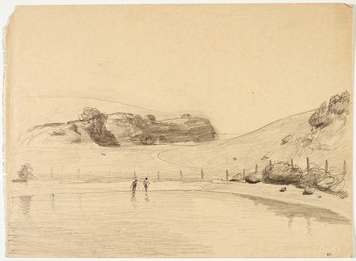 An image of Werri lagoon, with two figures by Lloyd Rees