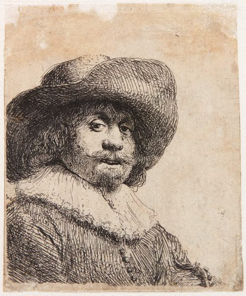 An image of Man in broad brimmed hat and ruff by Rembrandt Harmensz. van Rijn