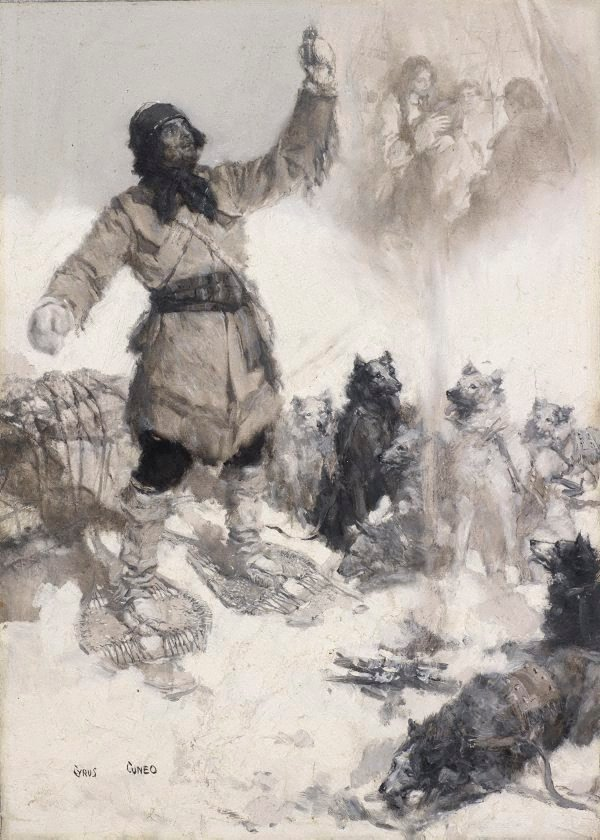 An image of Canadian trapper waylaid by wolves