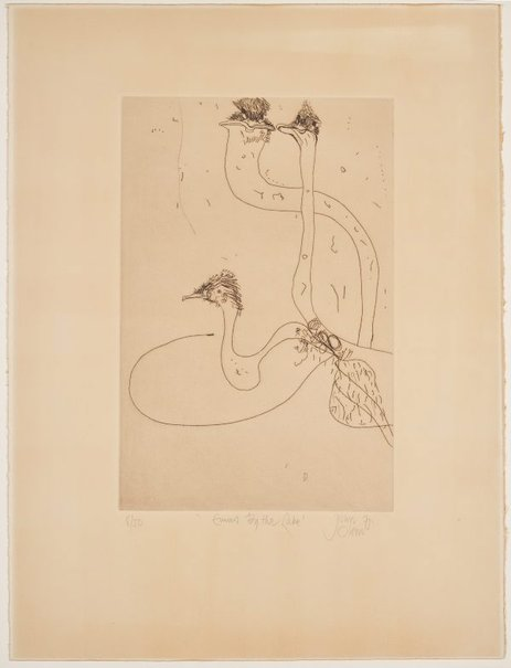 An image of Emus by the lake by John Olsen