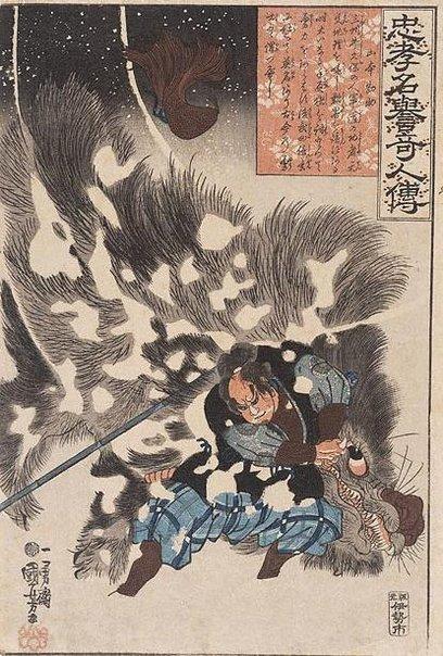 An image of Loyal, honourable and unusual people: Yamamoto Kansuke by Utagawa Kuniyoshi