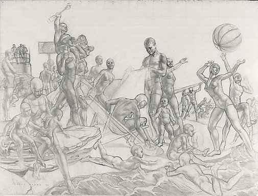 An image of Cartoon for 'Australian beach pattern' by Charles Meere