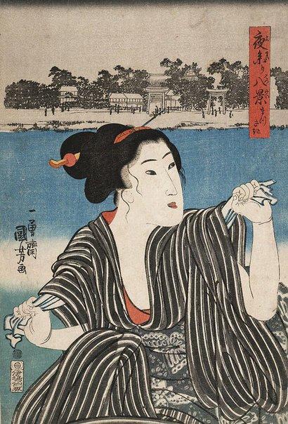 An image of Eight views of night shrine visit: Matsusaki by Utagawa Kuniyoshi