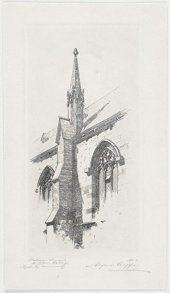 An image of Buttress and pinnacle, St. John's College, Sydney University by Alfred Coffey