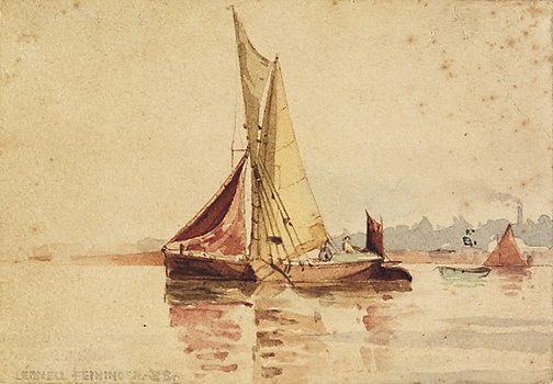 An image of (A sailing boat with a dinghy) by Lyonel Feininger