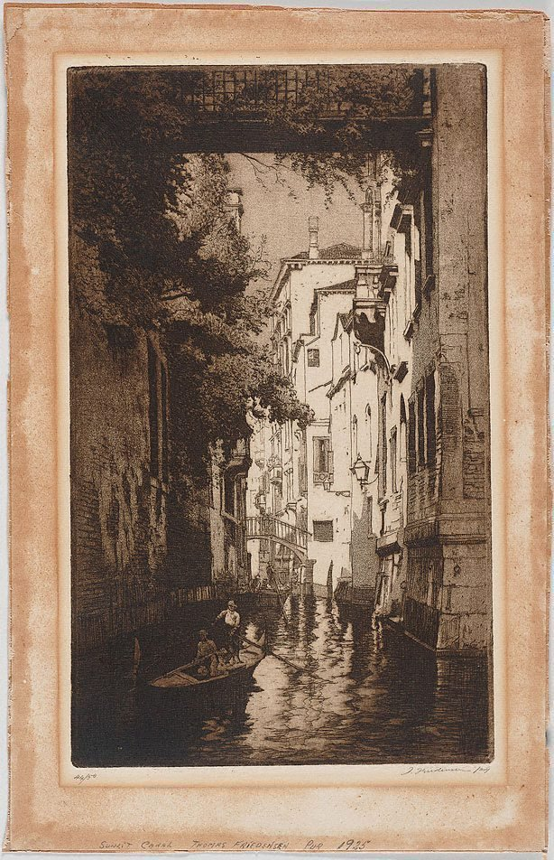 An image of Sunlit canal, Venice