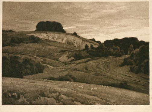 An image of Chalk pits on the downs by Percival Gaskell
