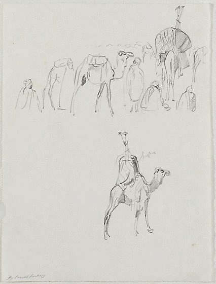 An image of Studies of camels by Lionel Lindsay