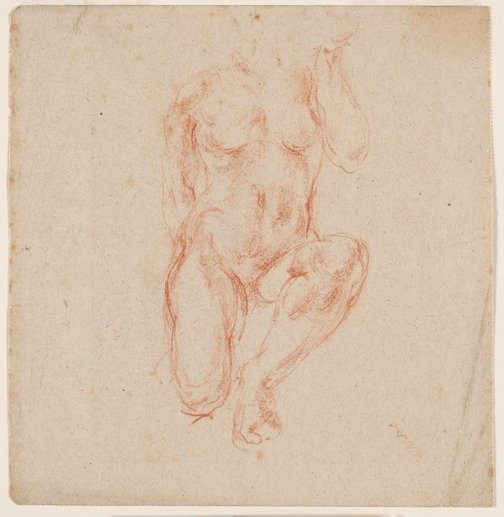 An image of recto: (Kneeling figure) verso: (Partial study of a leg) by Ian Fairweather