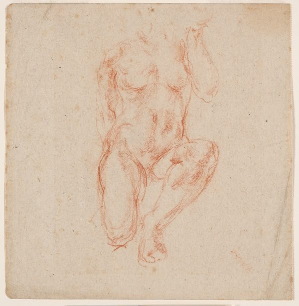 An image of recto: (Kneeling figure) verso: (Partial study of a leg)