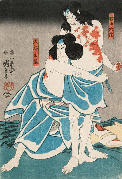An image of [Two men standing, covered in blood] by Utagawa Kuniyoshi