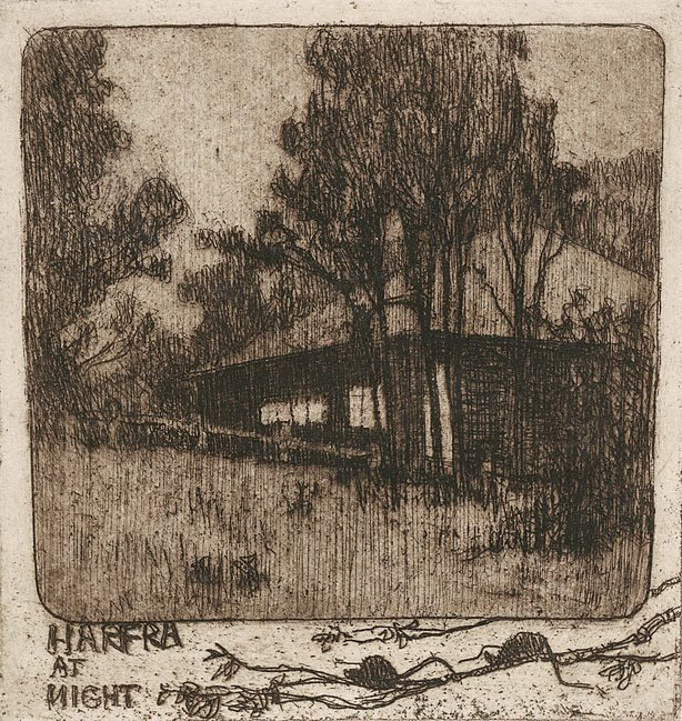 Possum time: Harfra at night, (1921) by Jessie Traill