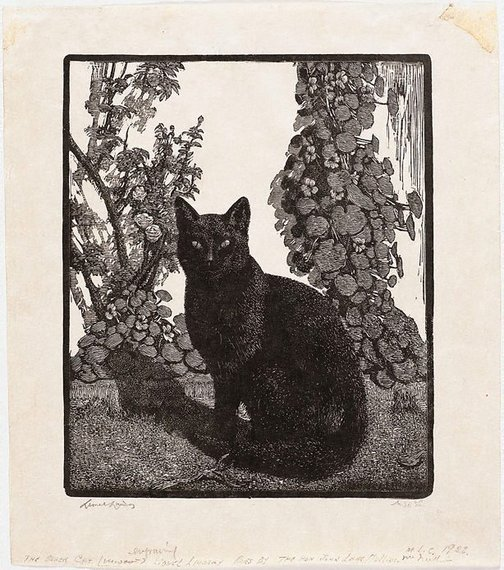 An image of The black cat by Lionel Lindsay