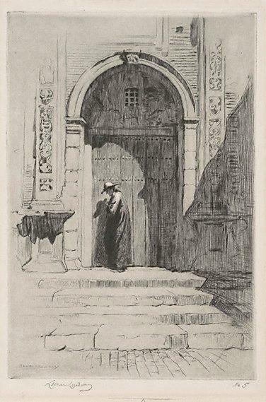 An image of The Bishop's door by Lionel Lindsay