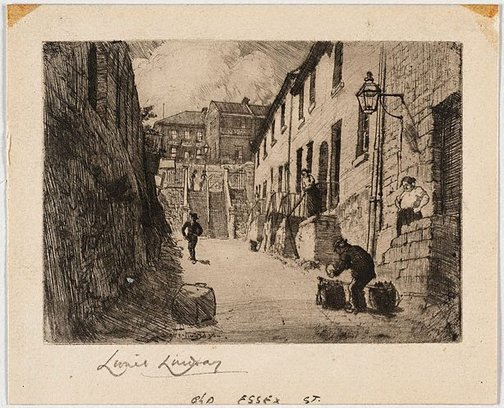 An image of Old Essex Street by Lionel Lindsay